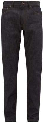 Burberry Straight Leg Leather Patch Jeans - Mens - Dark Blue