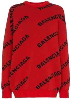 Balenciaga logo print wool jumper