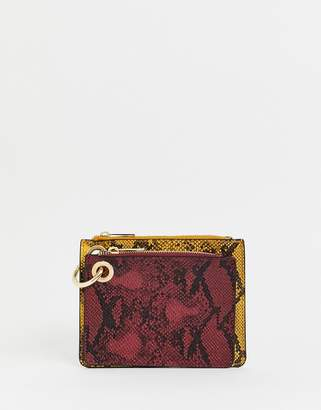 New Look snake print coin ladies' wallet in multicoloured