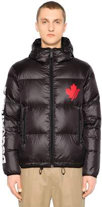 DSQUARED2 Hood Leaf & Logo Print Nylon Down Jacket