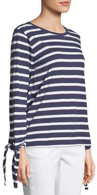 Joan Vass Tie-Sleeve Nautical-Stripe Tee