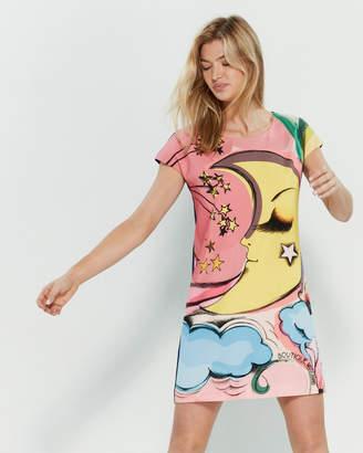 Moschino Sun Print Color Block Dress