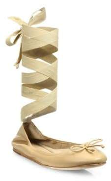 Saks Fifth Avenue Collection Leather Ankle-Wrap Ballet Flats
