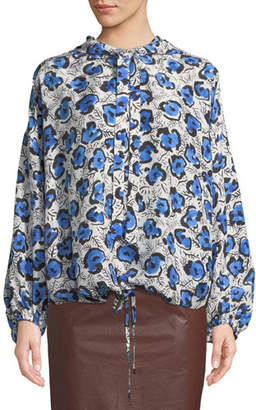 Christian Wijnants Tomi Hooded Floral-Print Silk Top