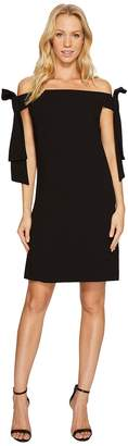 CeCe Bow Tie Off Shoulder Crepe Sheath Dress Women's Dress