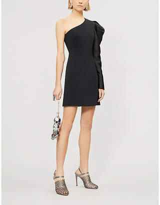 David Koma One-shouldered satin and crepe dress