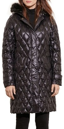 Women's Lauren Ralph Lauren Faux Fur Trim Hooded Packable Down Coat $250 thestylecure.com