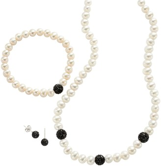 Pearlustre By Imperial PearLustre by Imperial Sterling Silver Freshwater Cultured Pearl & Crystal Jewelry Set