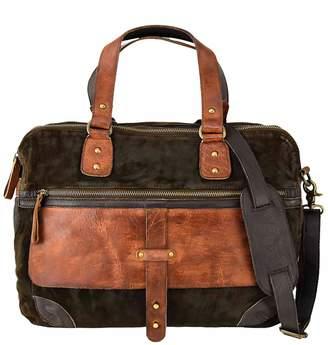 Vintage Addiction Suede & Leather Messenger Laptop Bag