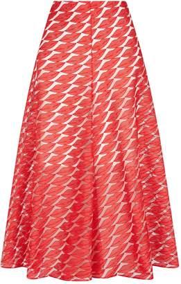 Akris Jacquard Lips Midi Skirt