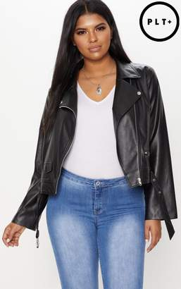 PrettyLittleThing Plus Black PU Biker Jacket