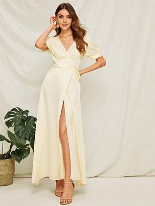 Shein Surplice High Slit Front Wrap Satin Dress