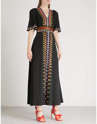 Temperley London Traveller embroidered crepe maxi dress