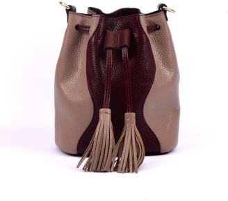 Atelier Hiva Mini Rivus Leather Bag Burgundy & Nude