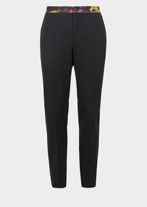 Versace Printed Belt Wool Trousers