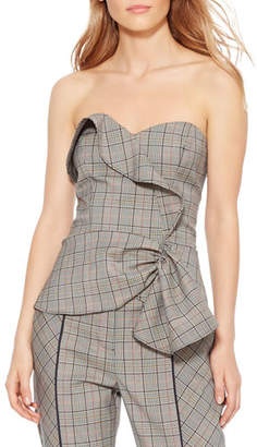 Parker Hazel Gathered Plaid Sleeveless Suiting Top