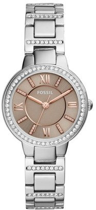 Women's Fossil Virginia Crystal Bracelet Watch, 30Mm $105 thestylecure.com