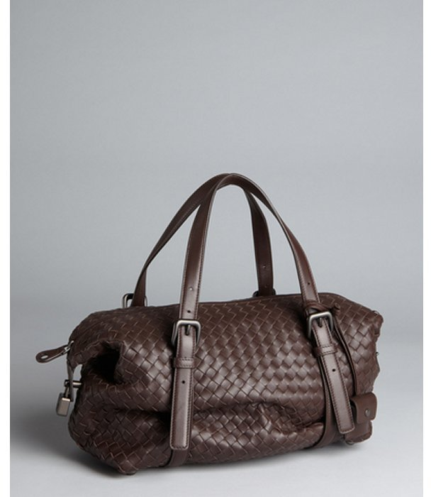 Bottega Veneta ebony intrecciato leather satchel