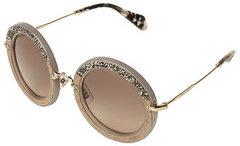 Miu MiuMiu Miu Noir Embellished Round Sunglasses with Suede