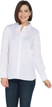 Brooke Shields Timeless BROOKE SHIELDS Timeless Stretch Poplin Button Front Shirt