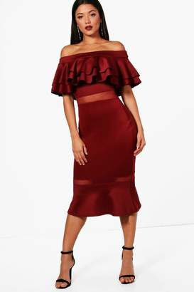 boohoo Double Layer Off the Shoulder Frill Midi Dress