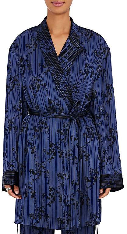 Women's Floral & Striped Satin Kimono Jacket