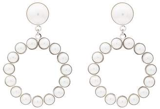 Alessandra Rich Faux pearl circle earrings with pearl clip