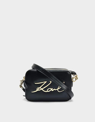 Karl Lagerfeld K/Signature Camera Bag in Black Smooth Calf Leather