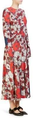 Cédric Charlier Long-Sleeve Floral Print Dress