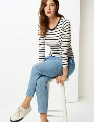 Marks and Spencer Pure Linen Textured Peg Trousers
