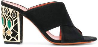Santoni embellished heel mules