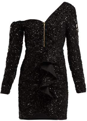 Self-Portrait Self Portrait Sequin Embellished Off The Shoulder Mini Dress - Womens - Black