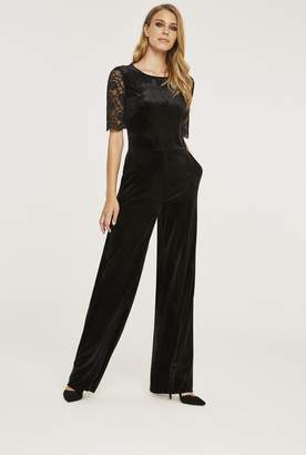 3615c8e8b330 Long Tall Sally Wide Leg Velvet Jumpsuit with Lace