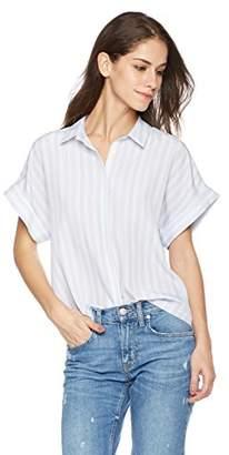 Essentialist Women's d Cropped Short Sleeve Button Down Shirt Strip