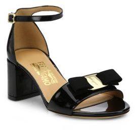Salvatore Ferragamo Gavina Patent Leather Block-Heel Sandals $550 thestylecure.com