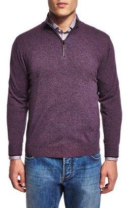 Isaia Half-Zip Cotton Pullover Sweater, Purple $995 thestylecure.com