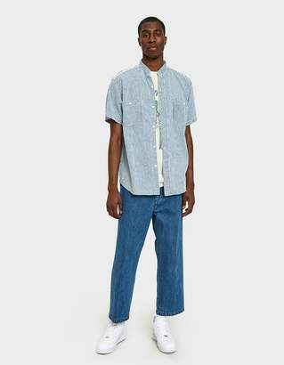 orSlow Stand Collar Short Sleeve Shirt in Blue Denim Hickory Stripe