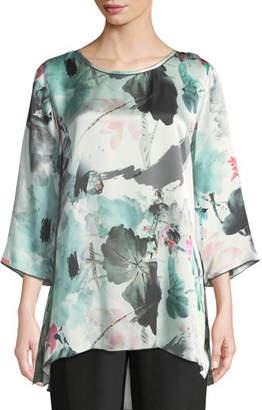 Caroline Rose Paradise Found Floral-Print Silk Party Top