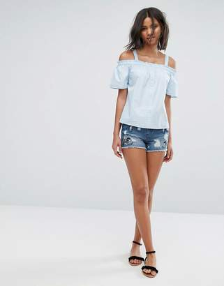 Only Embroidered Denim Shorts