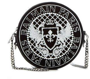 Balmain Logo Crossbody Bag with Leather