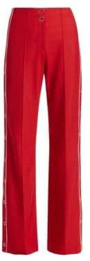 Jonathan Simkhai Women's Side Snap Wool Trousers - Red Hibiscus - Size 0