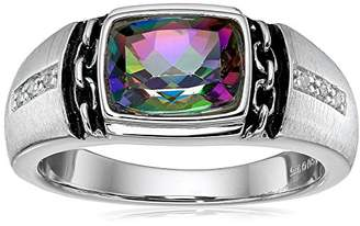 Men's Sterling Silver Mystic Fire Topaz and Diamond Ring (0.048 cttw