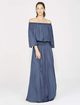 Halston OFF SHOULDER FLOWY SLEEVE GOWN