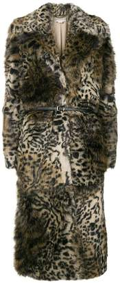 Stella McCartney leopard print faux-fur coat