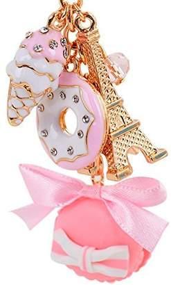 BAOBAO Cake Dessert Ice Cream Eiffel Tower Bowknot Pendant Keychain Bag Purse Keyring