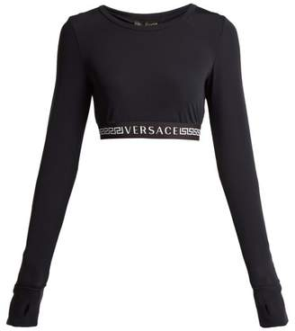 Versace Logo Crop Top - Womens - Black White