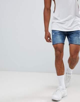 Brave Soul Mid Wash Ripped Denim Shorts