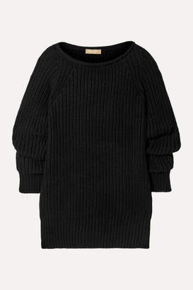 Michael Kors Ruched Ribbed Cashmere Sweater - Black