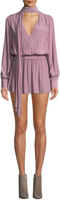 Ramy Brook Winslow Tie-Neck Long-Sleeve Short Dress