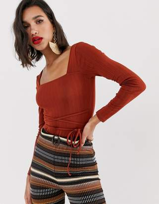 Asos Design DESIGN slinky body with square neck in rust
